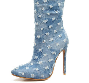 High Heels Mid Calf Denim Pointed Toe Boots - kats closet1