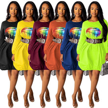 Load image into Gallery viewer, Lips Multicolor Round Neck Loose Mini Dress