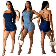 Load image into Gallery viewer, denim backless lace up short jumpsuit - kats closet1