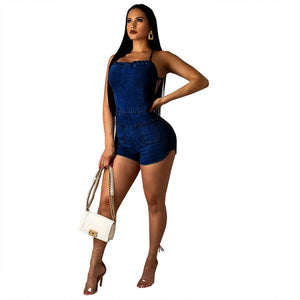 denim backless lace up short jumpsuit - kats closet1