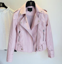 Load image into Gallery viewer, Female 2018 New Design Spring Autumn PU Leather Jacket Faux Soft Leather Coat Slim Black Rivet Zipper Motorcycle Pink Jackets - kats closet1