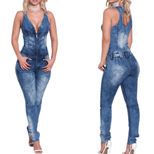 Load image into Gallery viewer, Fashion Blue Denim Jumpsuit Women Sexy V-neck Jeans Jumpsuit With Zipper - kats closet1