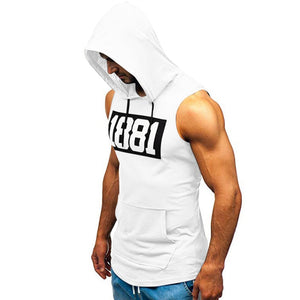 Cotton Sleeveless Hooded Tank Top Fitness Body Building Shirt