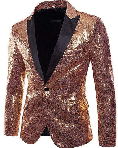 Shiny Sequins One Button Tuxedo Party Blazer