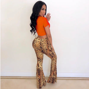 Leopard Print Beaded Flare Pants And T-Shirt Set