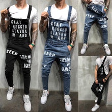 Load image into Gallery viewer, Men's Ripped Suspenders Jeans Jumpsuit Letter Print