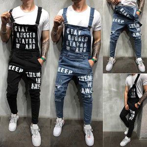 Men's Ripped Suspenders Jeans Jumpsuit Letter Print