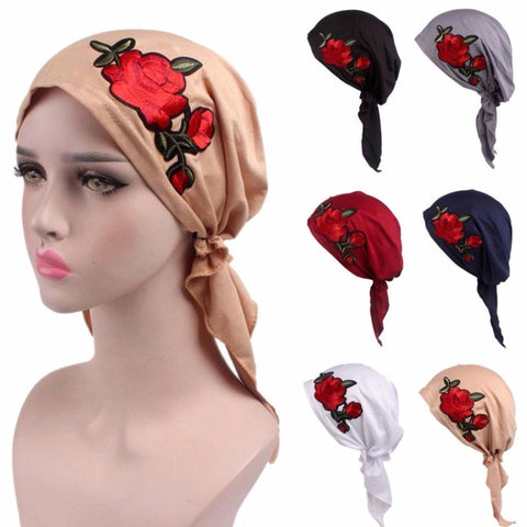 Rose Embroidery Stretchy Pre-Tied Head Scarf Head Wrap - kats closet1
