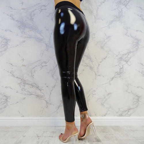 PU Leather Fitness Stretchy Shiny Leather Leggings