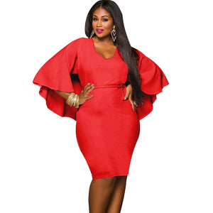 Plus Size Draped Cloak Solid Bodycon  Dress