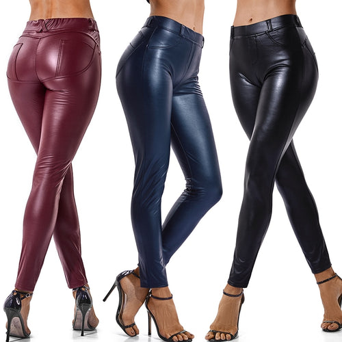 Faux Leather Thin Back Pocket Stretchy Push Up Leggings