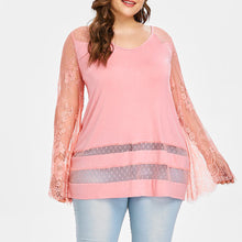 Load image into Gallery viewer, Plus Size Long Sleeve Flare lace Loose Blouse - kats closet1