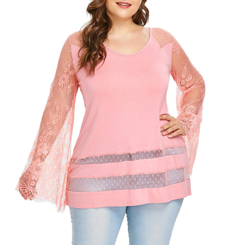 Plus Size Long Sleeve Flare lace Loose Blouse - kats closet1