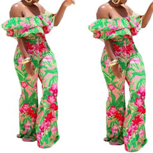 Load image into Gallery viewer, Floral Print Off The Shoulder Ruffles Short Sleeve Backless Jumpsuit