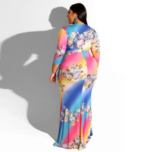 Load image into Gallery viewer, Floral Rainbow Printed Long Mermaid V-Neck Bodycon Maxi  Dress