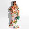 Floral Rainbow Printed Long Mermaid V-Neck Bodycon Maxi  Dress