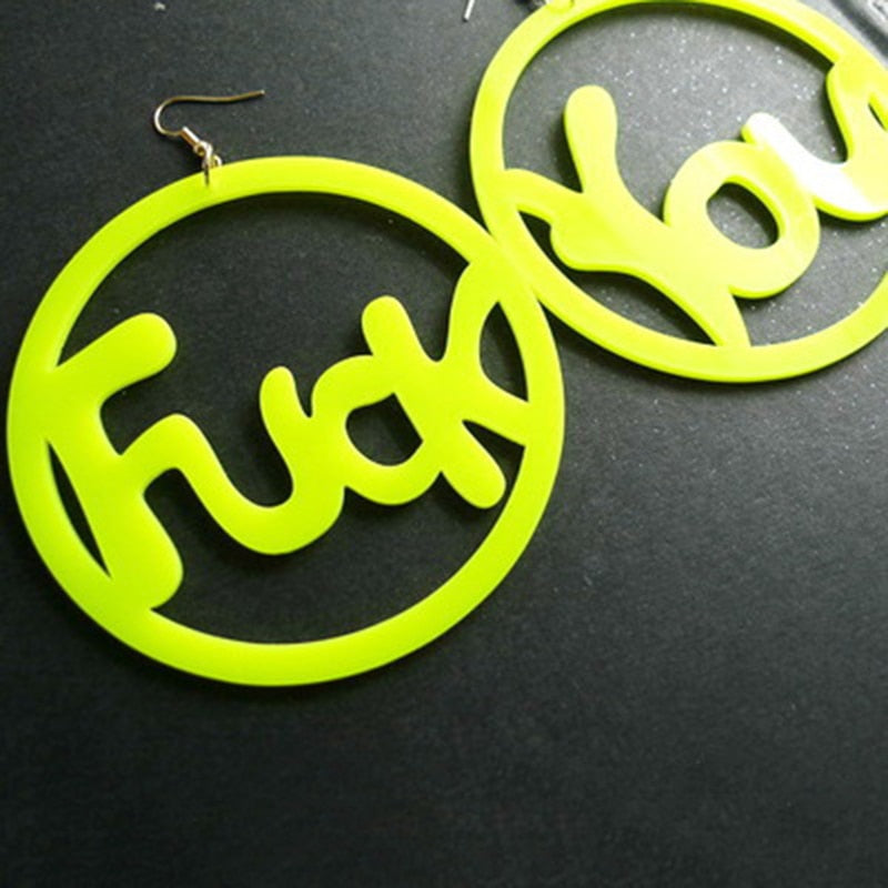 Fluorescent Color Big Round Letter Personality Earrings