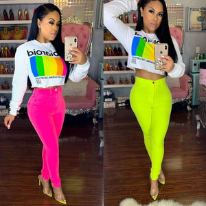 Fluorescent Color Pencil High Waist Button Up Zipper Pants - kats closet1