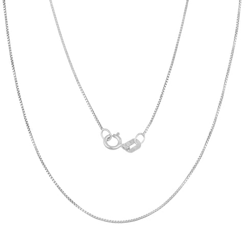 Fremada 14k White Gold 0.5-mm Delicate Box Chain (14 -30 inches) - kats closet1