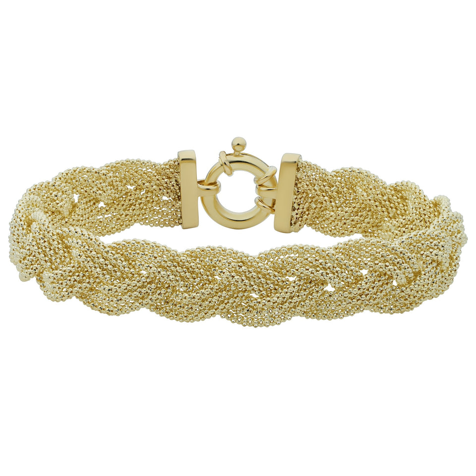 Fremada 14k Yellow Gold Braided Trople Popcorn Chain Bracelet (7.5 inches) - kats closet1