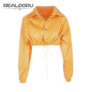 Realpopu Drawstring Turn-down Collar Jacket Button Long Sleeve Crop Top Autumn Winter Sexy Girl Solid Coat Women chaqueta mujer