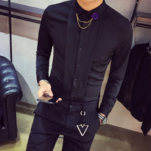 Load image into Gallery viewer, Top Quality Brand Men Shirts Long Sleeve Slim Fit Solid Tuxedo Shirt Men Night Club Singer Stage Costume Casual Social Shirt Man - kats closet1