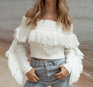 d35306413a Short Crop tassel white Sexy Sweater