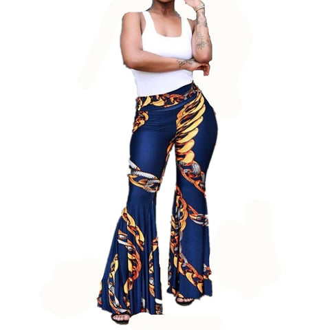Gold Chain Print High Waist Flare Pants