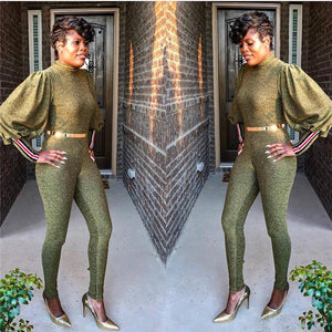 Gold Glitter High Neck Lantern Long Sleeve One Piece Sparkly Jumpsuit