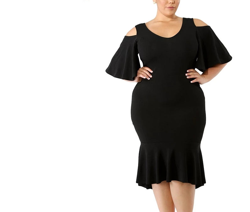 Cold Shoulder Plus Size Elegant O Neck Half Sleeve Flutter Dress