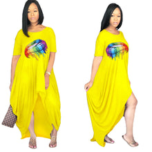 Load image into Gallery viewer, O-Neck Short Sleeve Mouth Print Loose Maxi Long Dress