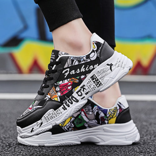 White Fashion Graffiti Flat Sneakers