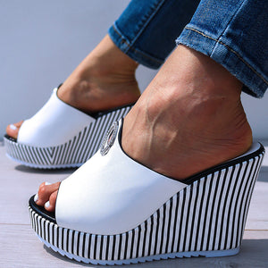 High Heel Platform Wedge Slippers