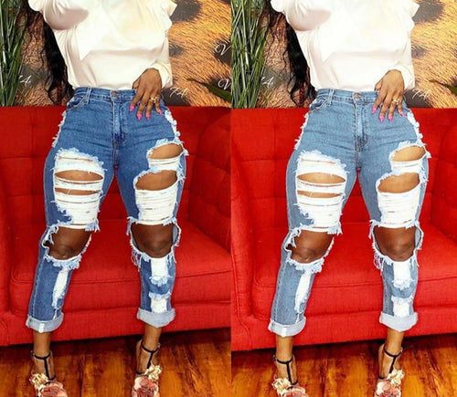 High Waist Hole Ripped Denim Jeans
