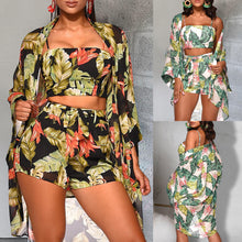 Load image into Gallery viewer, Floral 3 Piece Set Crop Top/Short Long Sleeve Set