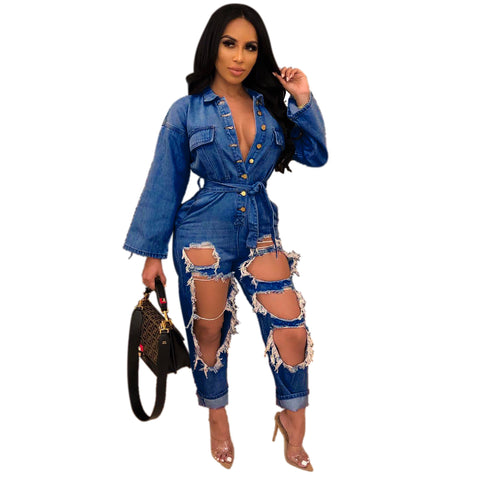 Ripped Denim Turn Down Collar Long Sleeve Jumpsuit