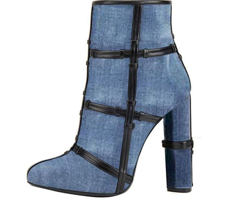 Denim Pointed Toe High Heeled Ankle Boots