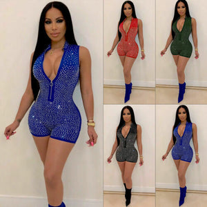 Bodycon Beading V-Neck Sequin Slim Sleeveless Romper