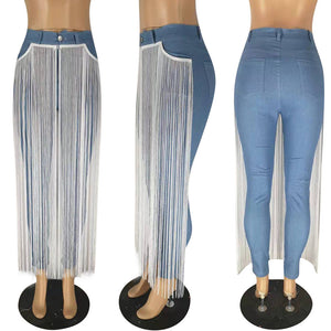 Tassel  Light Blue Denim Jeans