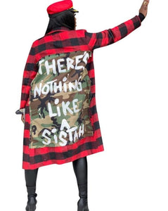 Long Camouflage Red Plaid Long Sleeve Shirt