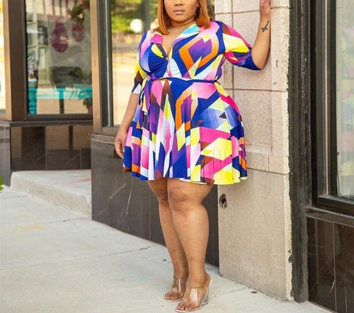 Plus Size Multi Color Short Dress