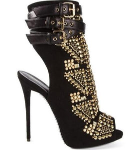 Studded Rivets Platform Booties Buckle Strap Peep Toe Shoes