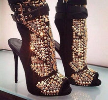 Load image into Gallery viewer, Studded Rivets Platform Booties Buckle Strap Peep Toe Shoes