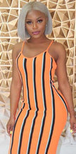Load image into Gallery viewer, Vertical Striped Knee-Length Spaghetti Strap Pencil Dress
