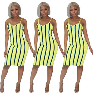 Vertical Striped Knee-Length Spaghetti Strap Pencil Dress
