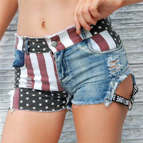 Mini America Flag Denim Holes Shorts - kats closet1