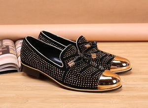 2017 New fashion Rivets studded Men Pumps Gold Metallic Studded Loafers Casual Party Wedding black color Mens Shoes Zapatos - kats closet1