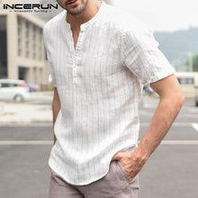 Load image into Gallery viewer, Striped Short Sleeve Cotton Linen Shirt