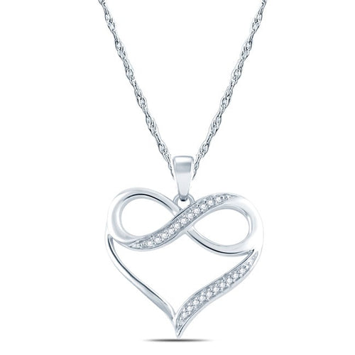 Cali Trove 10k White Gold Diamond Accent Infinity Heart Pendant Necklace - kats closet1