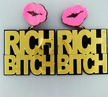 Load image into Gallery viewer, Trendy Hip Hop Pink Lips Letter Earrings